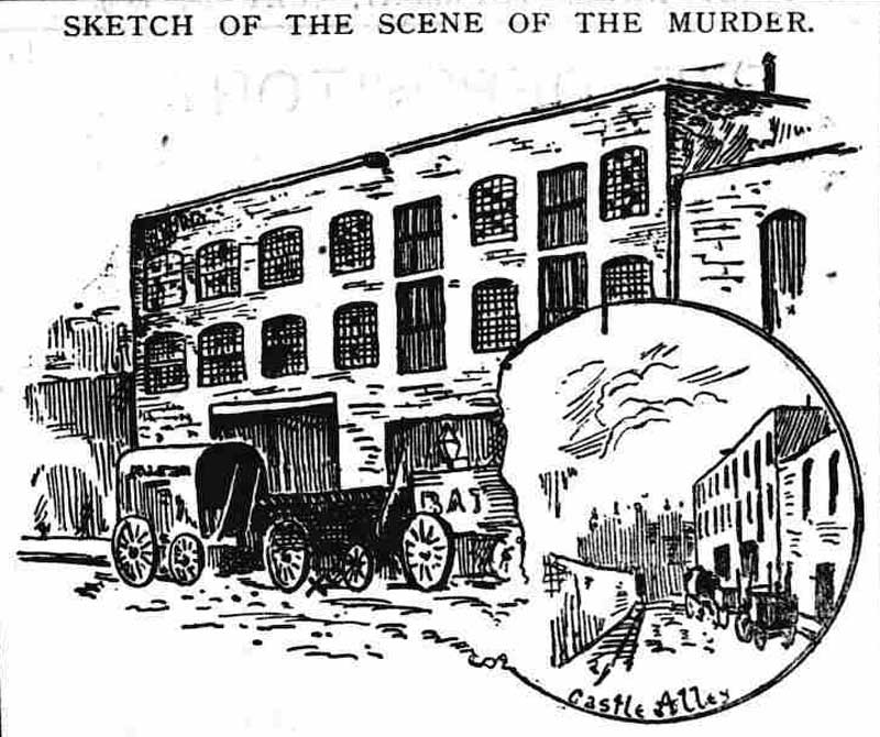 A sketch of the murder site in Castle Alley.