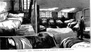 The beds inside a common lodging house in Spitalfields.