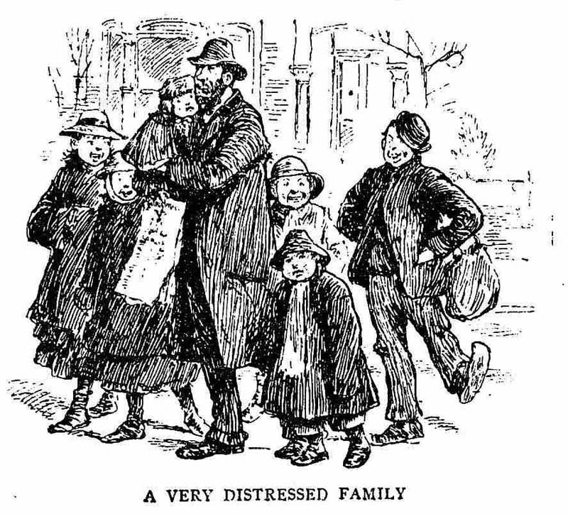An illustration showing the distressed family.