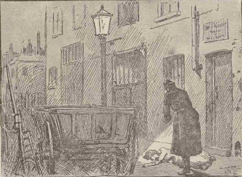 An illustration showing the policeman finding the body of Alice Mckenzie.