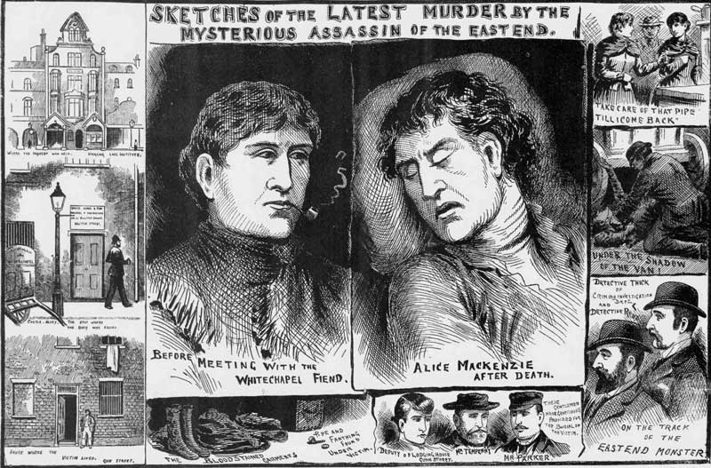 Illustrations showing the murder of Alice McKenzie.