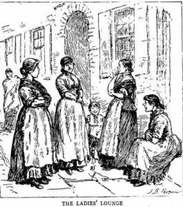 Women gossiping outside a house.