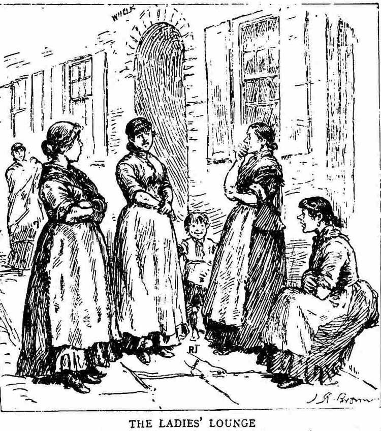 Women gossiping outside a house.