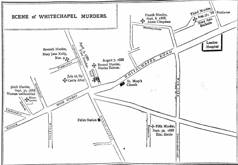 A map showing the locations of the Whitechapel Murders.