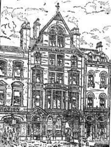 An illustration of the exterior of the Working Lads Institute.