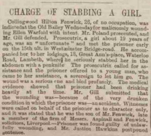 A press clipping on the case.