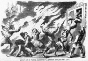 An illustration showing a fire in a French Prison.