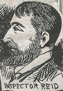 A sketch portrait of Inspector Reid.