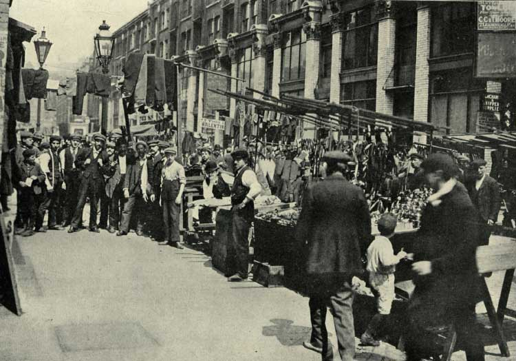 A view along Petticoat Lane in 1889.