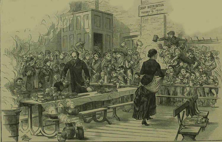 An illustration showing the soup kitchen.