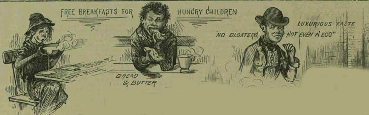 Illustrations showing children eating.