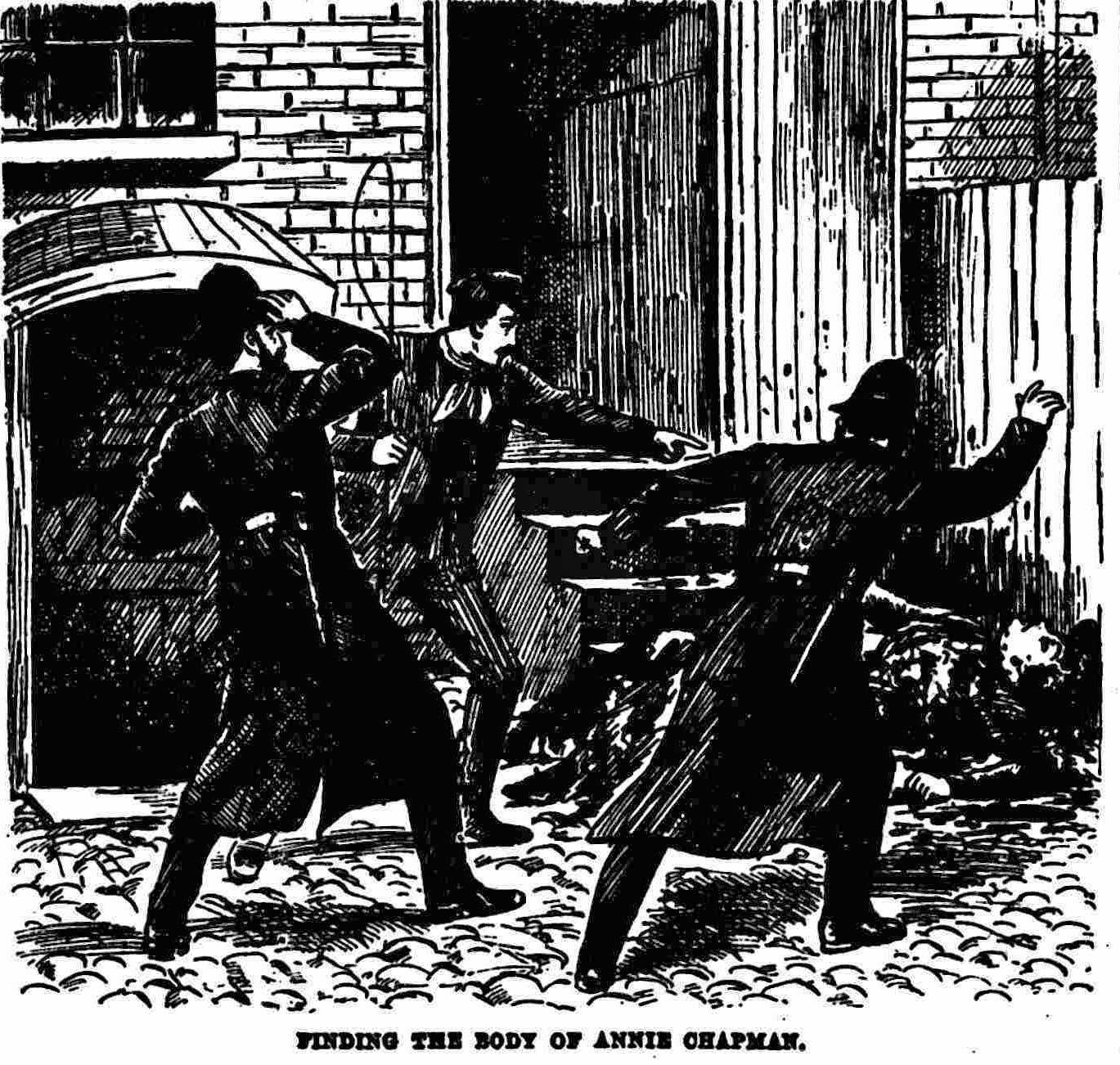 An Illustration showing the police looking at the body of Annie Chapman.
