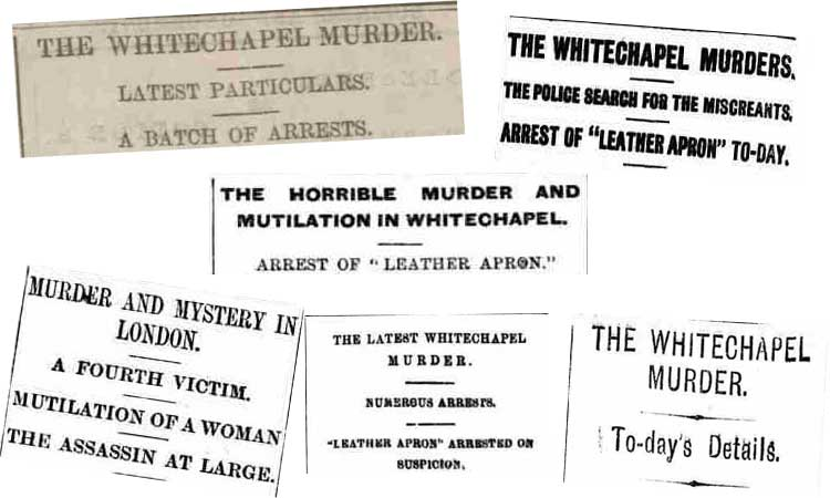 Some of the newspaper headlines that appeared on September 10th 1888.