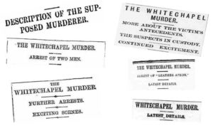 Newspaper headlines that appeared in the papers on 11th September 1888.
