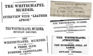 A selection of newspaper headlines that appeared on the 12th September, 1888.