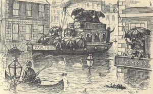An illustration showing the rain in London.