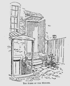 An illustration showing the backyard of 29 Hanbury Street.