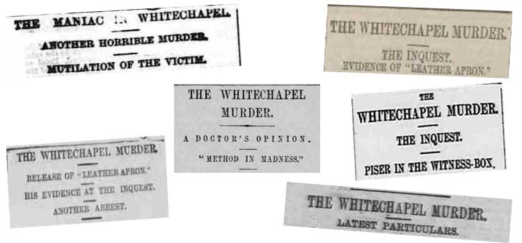 A selection of newspaper headlines from 13th September 1888.