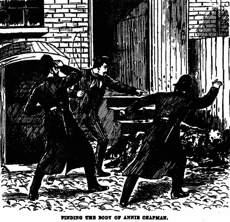 The body of Annie Chapman in the backyard of 29 Hanbury Street,