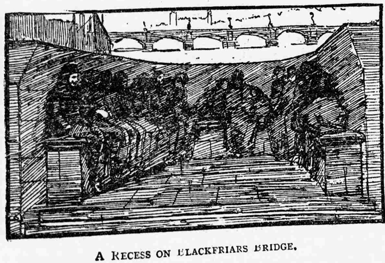 People sleeping on Blackfriars Bridge.