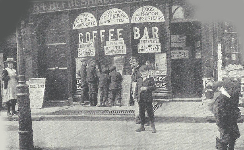 The exterior of a coffee bar.