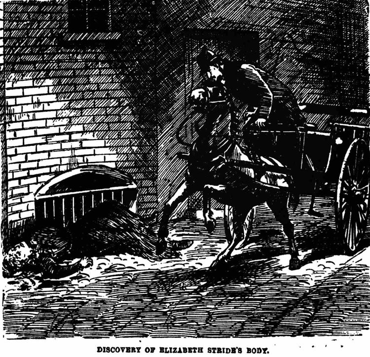 An illustration of the finding of the body of Elizabeth Stride.