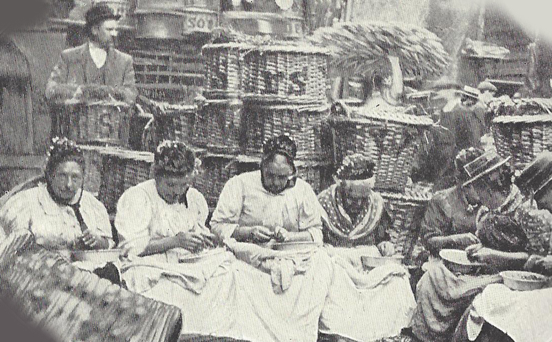 A group of women shelling peas.