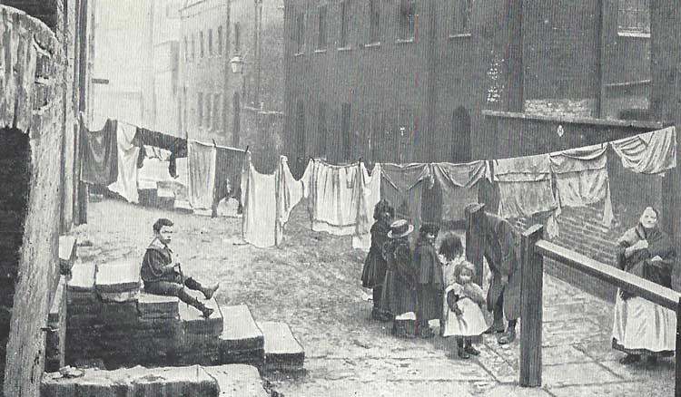 Looking along a street of 19th century East London.