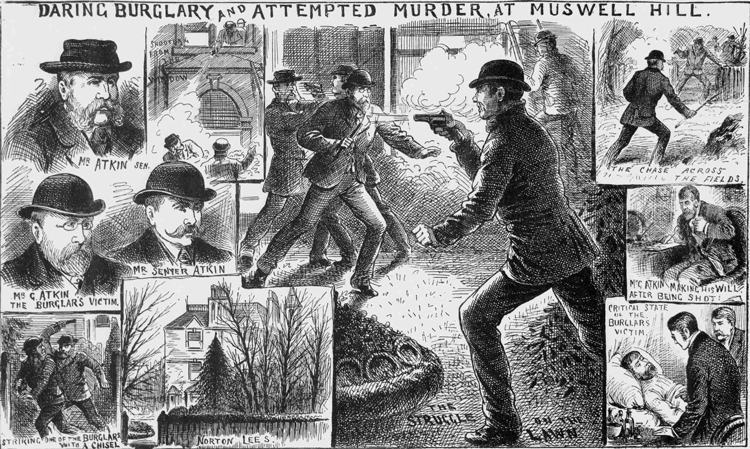 More illustrations showing the Muswell Hill burglary.