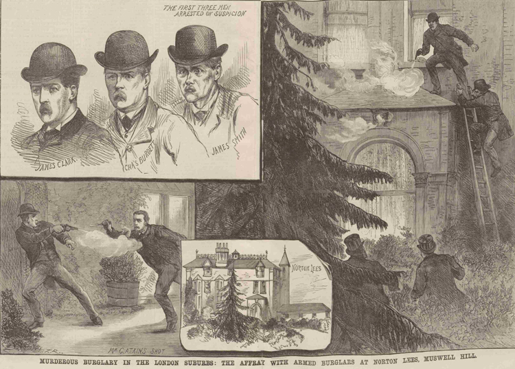 Illustrations showing the burglary and shooting at Muswell Hill.