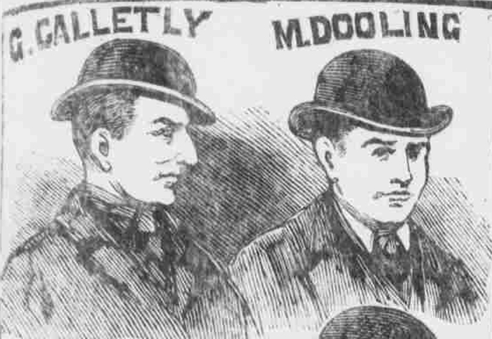 Portraits of two suspects.