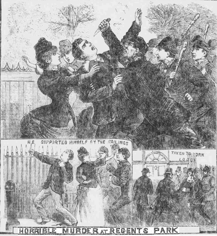 Illustrations showing the murder of John Rumbold.