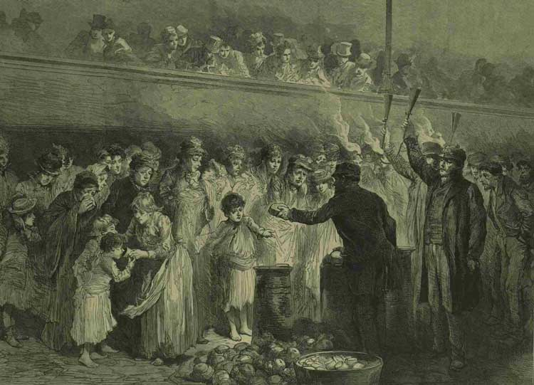 An ilustration showing the distribution of tea, coffee and bread to the poor in Trafalgar Square.