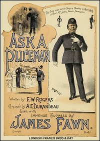 "The cover of the original music for ""If you want to know the time ask a policeman."""