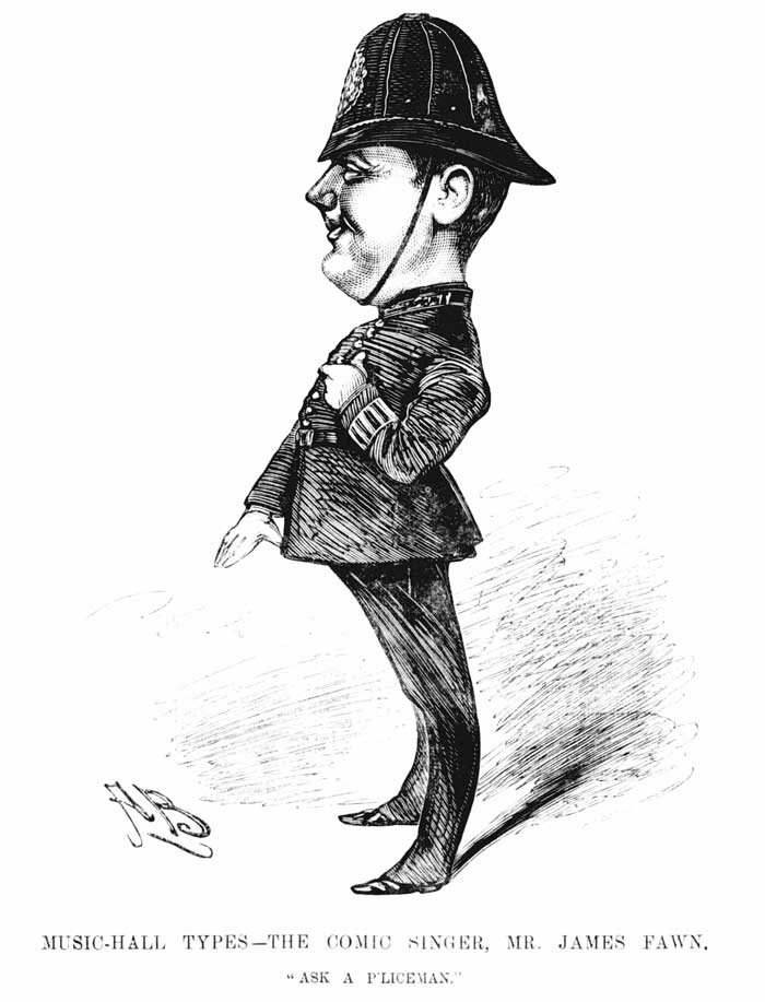 An illustration of James Fawn dressed as a policeman.