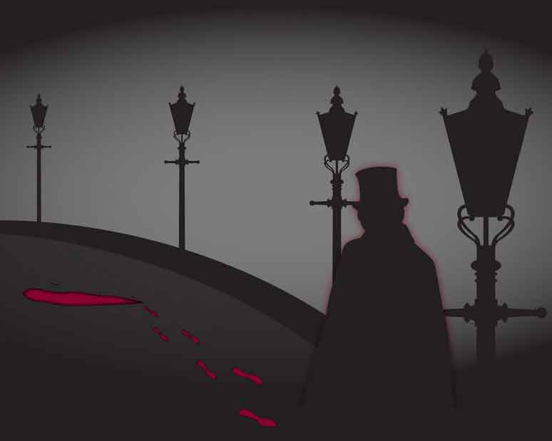 A top hatted figure by some gas-lamps.