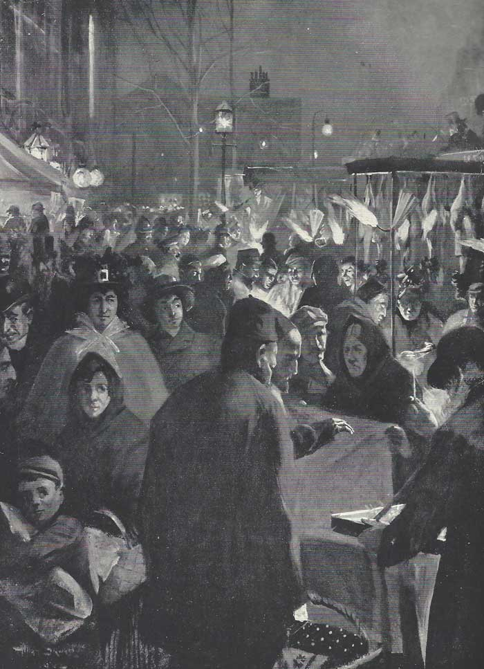 An illustration showing the busy Whitechapel Road on a Saturday night.