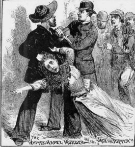 The assailant, holding the woman by the hair is disarmed.