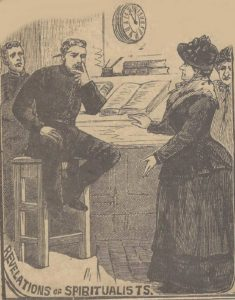 An illustration showing a woman spiritualist talking to a police officer.