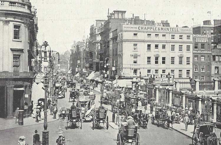 A photograph of the busy Strand in Victorian times.