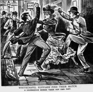 An illustration showing the attack on Annie Toffler.