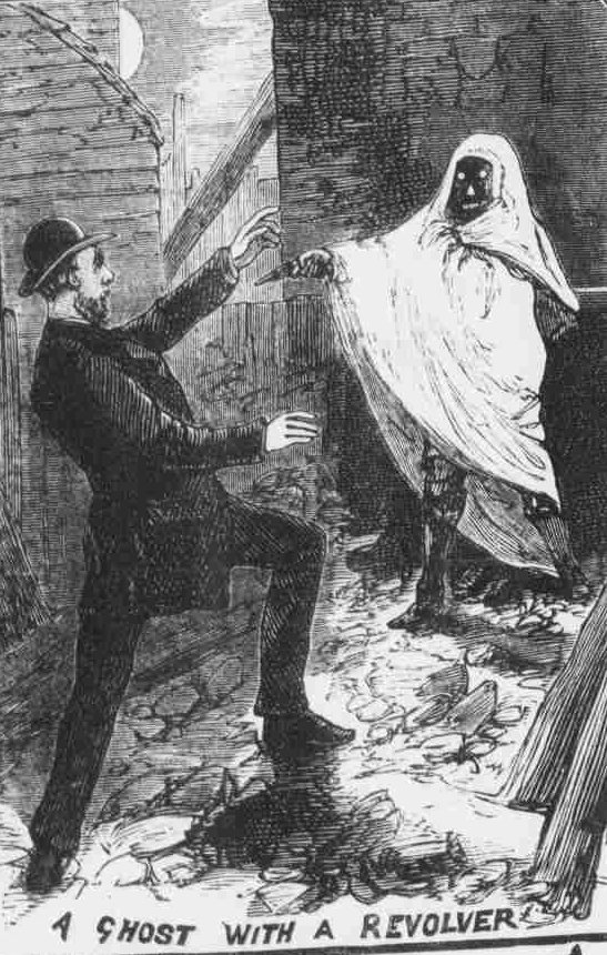 A ghost points a revolver at a startled man.