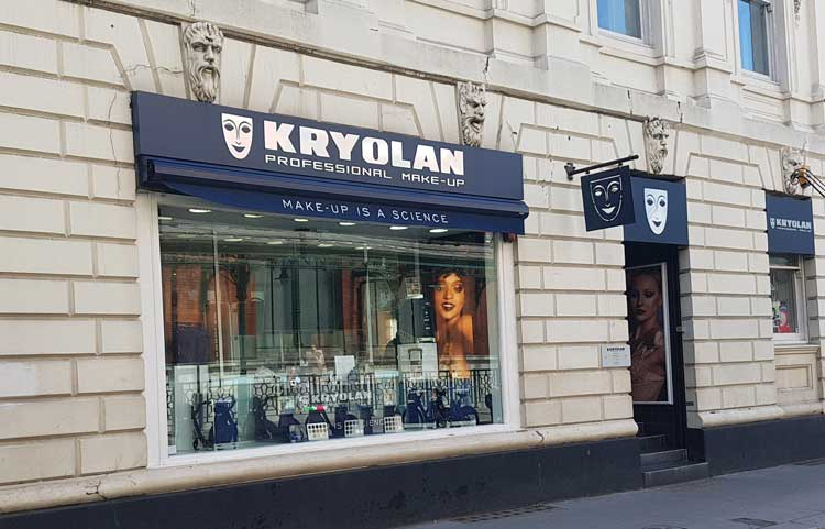 The exterior of the Kryolan Shop.