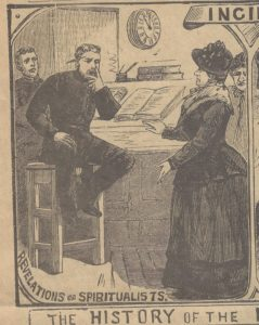 A lady spiritualist talks to a seated policeman.