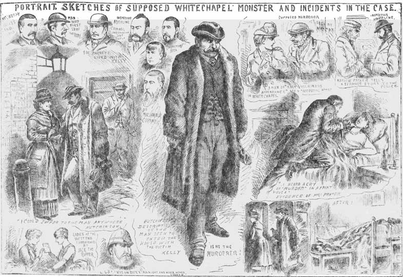 Various sketches of the crimes and the suspects.