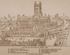 An illustration showing the priory church and the surroundings.