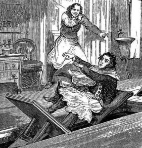 Sweeney Todd murders one of his customers.
