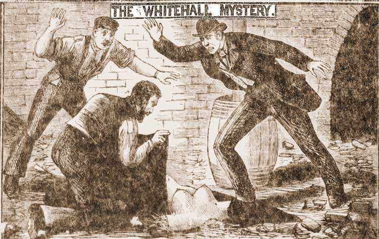 A skecth showing the Whitehall mystery.