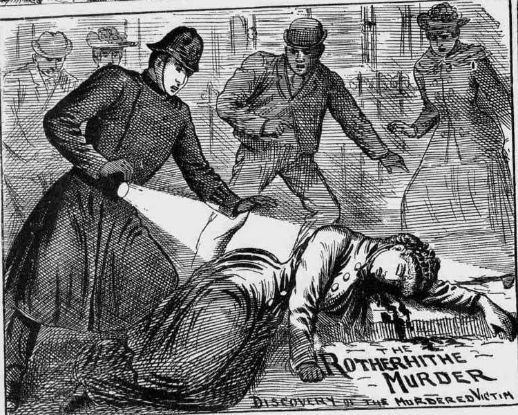 A policeman shines his lantern onto the body of Jane Thompson.