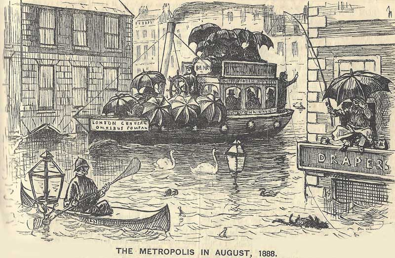 A cartoon showing the streets of London flooded.